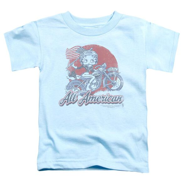 Betty Boop All American Biker Short Sleeve Toddler Tee Light Blue Sm T-Shirt