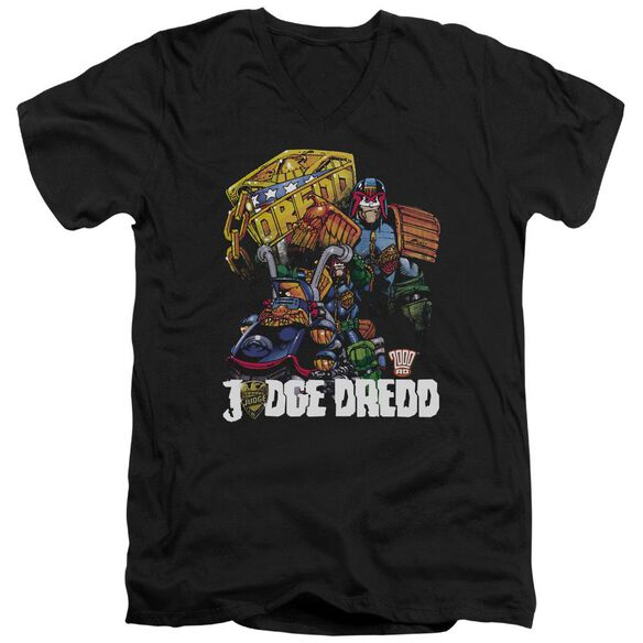 Judge Dredd Bike And Badge Short Sleeve Adult V Neck T-Shirt