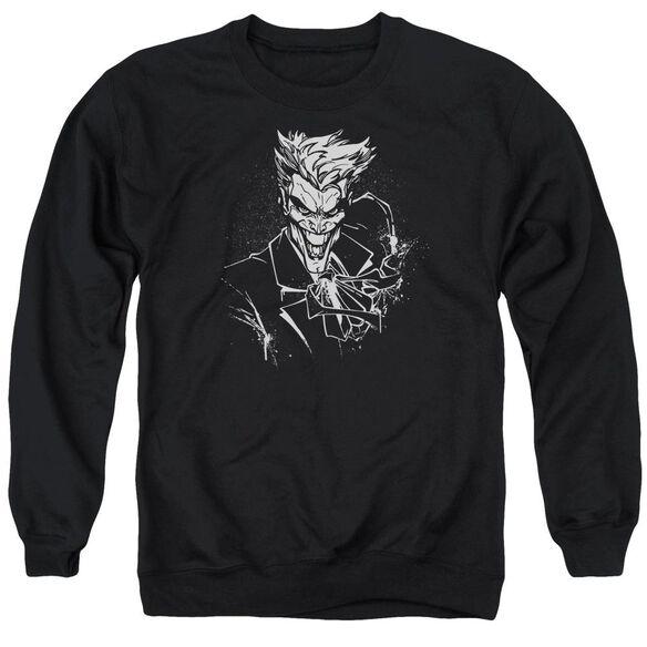 Batman Joker'S Splatter Smile Adult Crewneck Sweatshirt