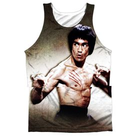 Bruce Lee Scratched - Adult 100% Poly Tank Top - White