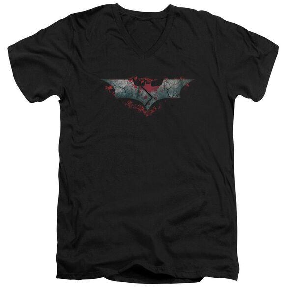 Dark Knight Rises Split & Crack Logo Short Sleeve Adult V Neck T-Shirt