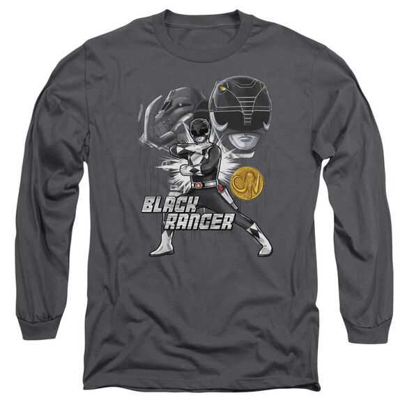 Power Rangers Black Ranger Long Sleeve Adult T-Shirt