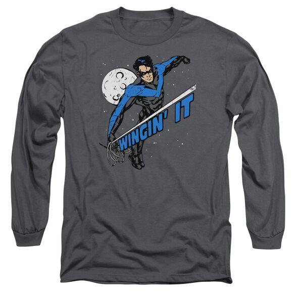 Batman Wingin It Long Sleeve Adult T-Shirt