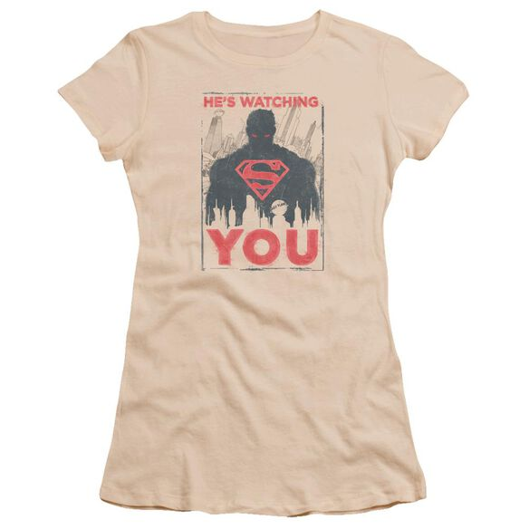 Superman He's Watching You Premium Bella Junior Sheer Jersey