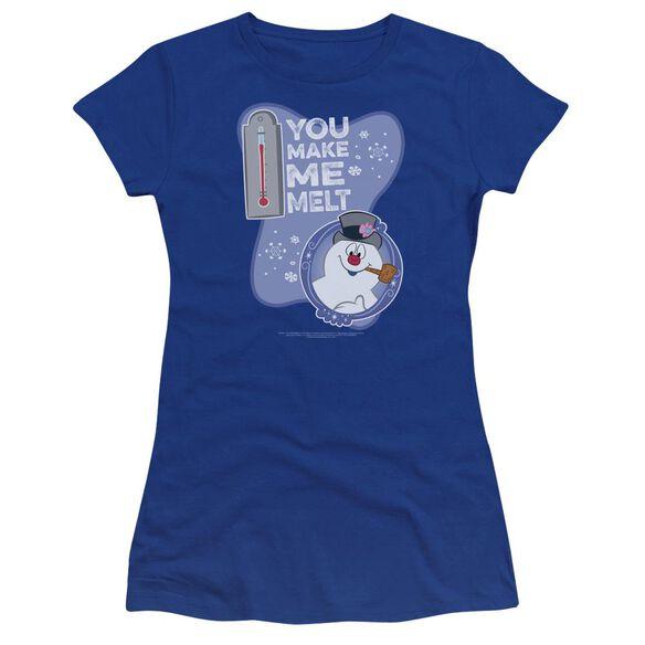 Frosty The Snowman Melt Hbo Short Sleeve Junior Sheer Royal T-Shirt
