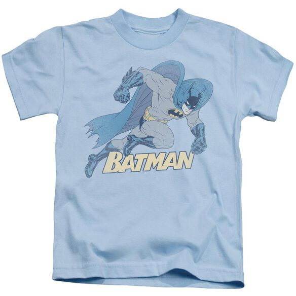 Batman Running Retro Short Sleeve Juvenile Light Blue Md T-Shirt