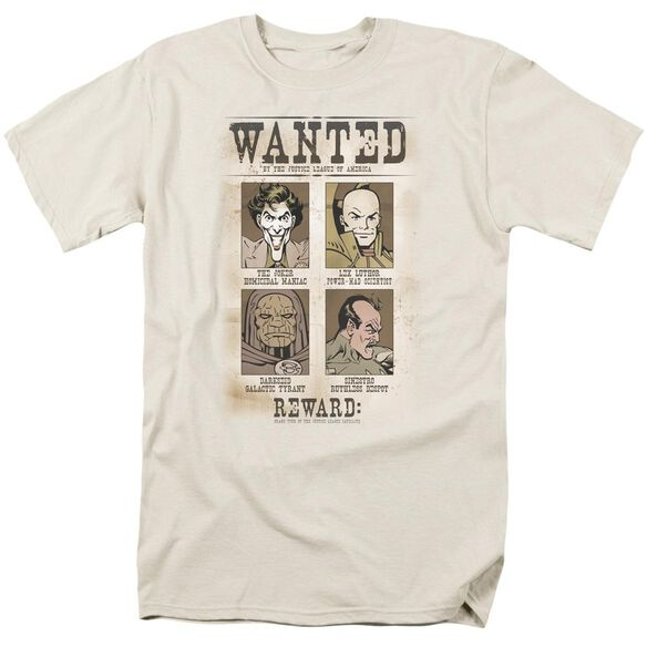 Dc Wanted Poster Short Sleeve Adult Cream T-Shirt