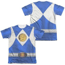 Power Rangers Blue Ranger Emblem (Front Back Print) Adult Poly Cotton Short Sleeve Tee T-Shirt