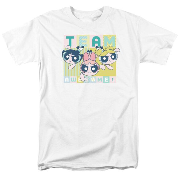 Powerpuff Girls Awesome Block Short Sleeve Adult White T-Shirt