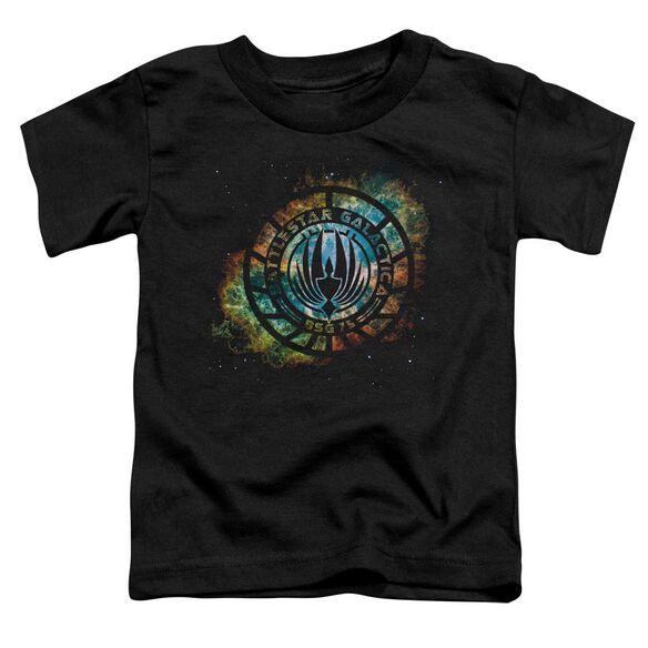 Battlestar Galactica (New) Emblem Knock Out Short Sleeve Toddler Tee Black T-Shirt
