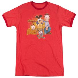 Garfield Say Cheese Adult Heather Ringer Red