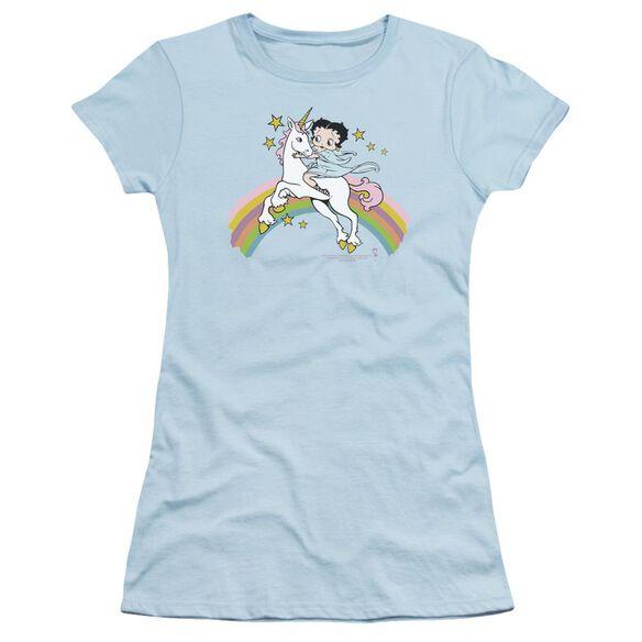 Betty Boop Unicorn And Rainbows Short Sleeve Junior Sheer Light T-Shirt