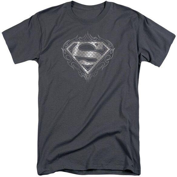 Superman Tribal Steel Logo Short Sleeve Adult Tall T-Shirt