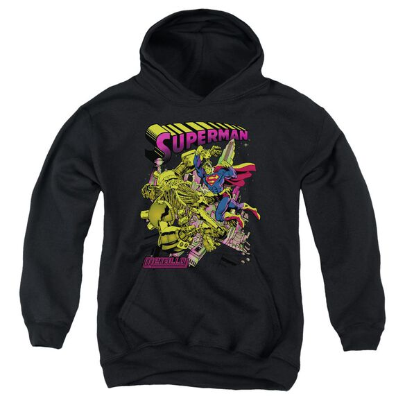 Superman Versus Metallo Blacklight Youth Pull Over Hoodie