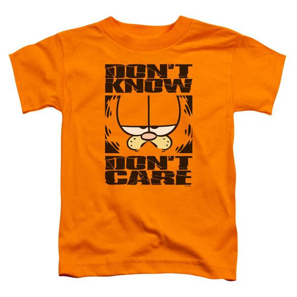 Garfield Don't Know Don't Care Short Sleeve Toddler Tee Orange Sm T-Shirt