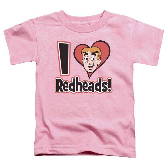 Archie Comics I Love Redheads Short Sleeve Toddler Tee Pink Lg T-Shirt
