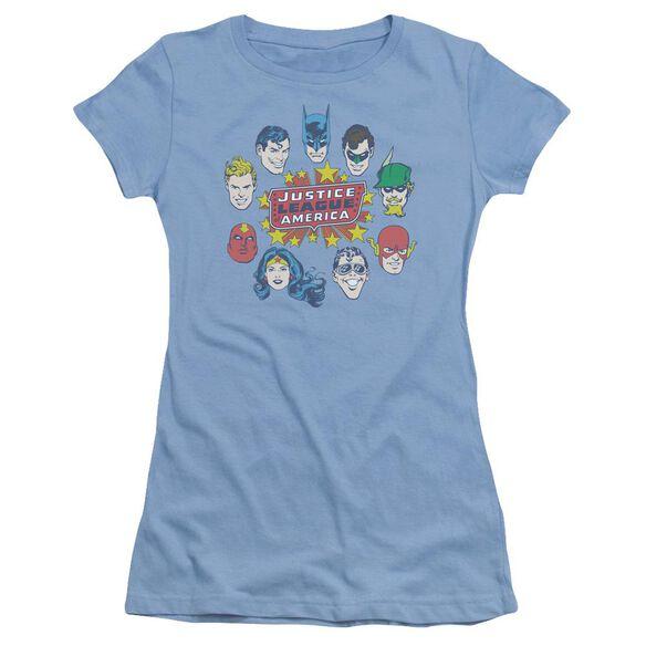 Dc Justice Head Circle Short Sleeve Junior Sheer Carolina T-Shirt