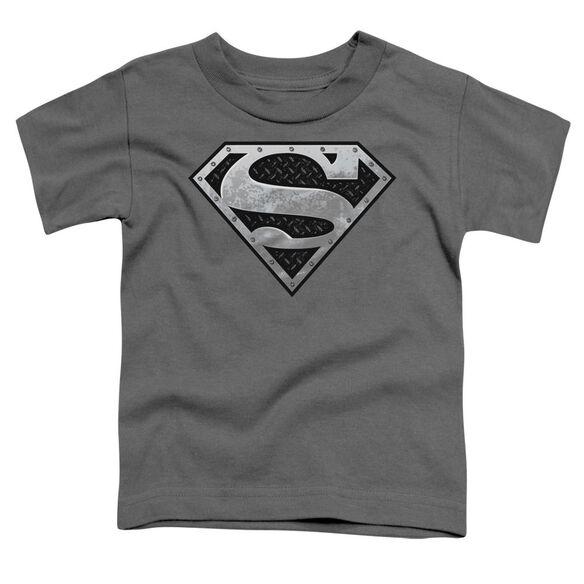 Superman Super Metallic Shield Short Sleeve Toddler Tee Charcoal Sm T-Shirt
