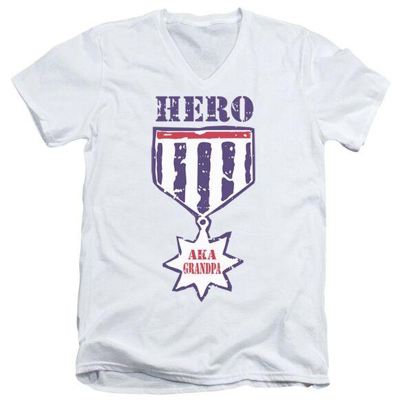 HERO AKA GRANDPA - ADULT V-NECK - WHITE T-Shirt