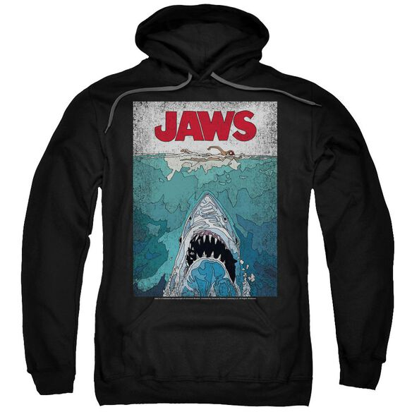 Jaws Lined Poster Adult Pull Over Hoodie