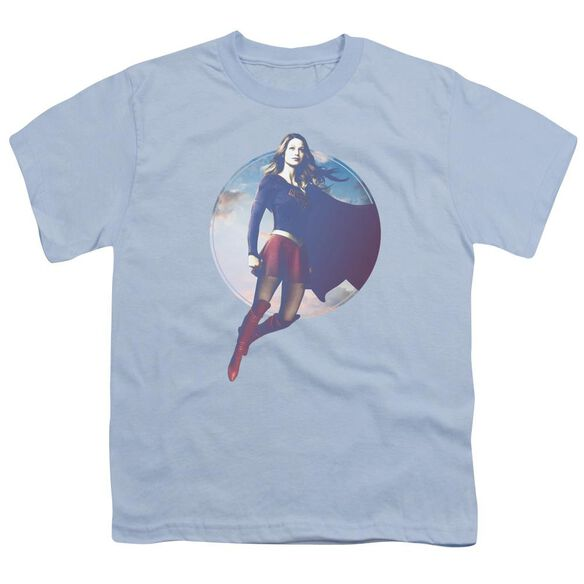 Supergirl Cloudy Circle Short Sleeve Youth Light T-Shirt