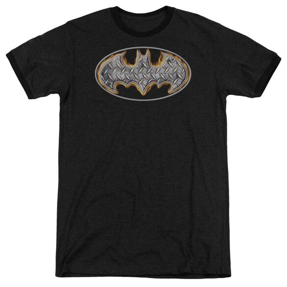 Batman Steel Fire Shield Adult Heather Ringer