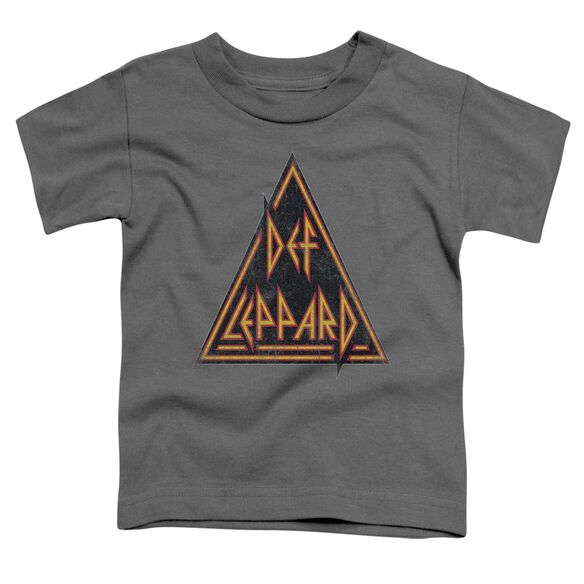 Def Leppard Distressed Logo Short Sleeve Toddler Tee Charcoal T-Shirt
