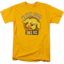 Ken L Ration Happy Dogs Short Sleeve Adult Gold T-Shirt