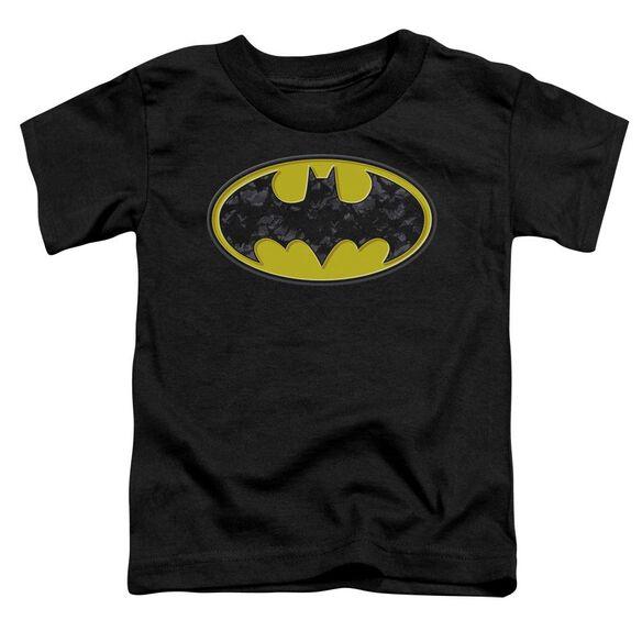 Batman Bats In Logo Short Sleeve Toddler Tee Black T-Shirt