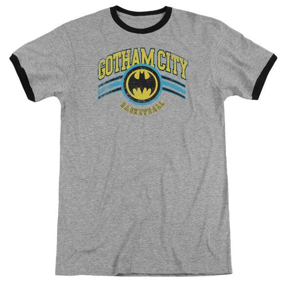 Dc Gotham City Basketball Adult Ringer Heather Black