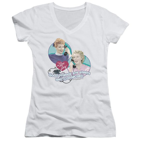 I Love Lucy Always Connected Junior V Neck T-Shirt