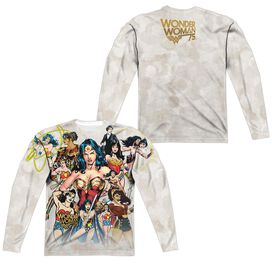 Wonder Woman 75 Th Collage (Front Back Print) Long Sleeve Adult Poly Crew T-Shirt