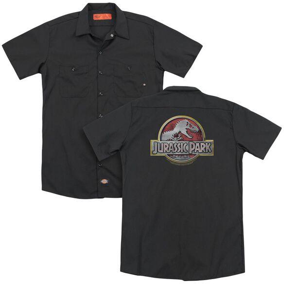 Jurassic Park Logo (Back Print) Adult Work Shirt