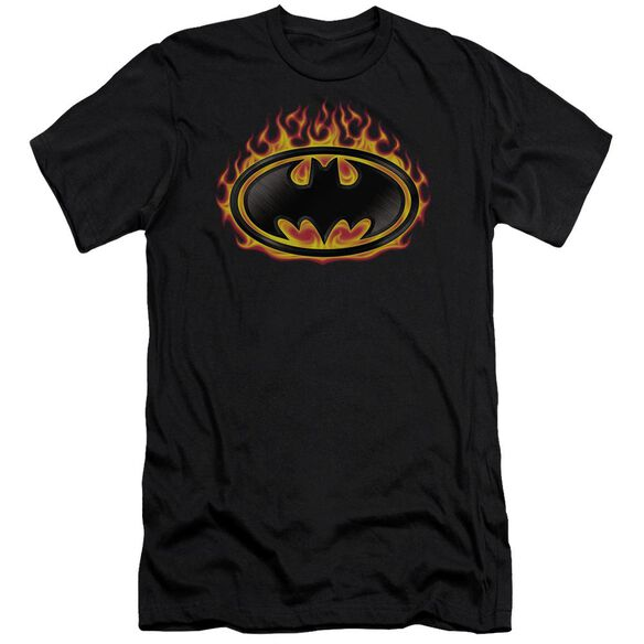 Batman Bat Flames Shield Short Sleeve Adult T-Shirt