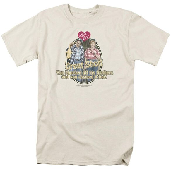 I Love Lucy Great Shot Short Sleeve Adult Cream T-Shirt