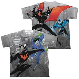 Batman Beyond Baddie Battle (Front Back Print) Short Sleeve Youth Poly Crew T-Shirt