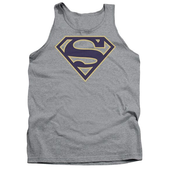 Superman Navy & Gold Shield Adult Tank Athletic