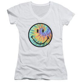 Smiley World Tie Dye Face Junior V Neck T-Shirt
