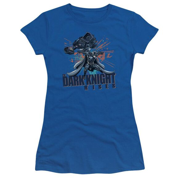 Dark Knight Rises Batwing Short Sleeve Junior Sheer Royal T-Shirt