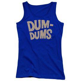 Dum Dums Distressed Logo - Juniors Tank Top - Royal Blue