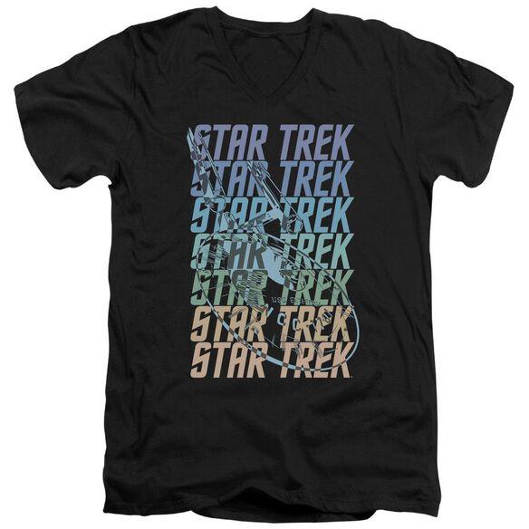 Star Trek Multi Logo Enterprise Short Sleeve Adult V Neck T-Shirt