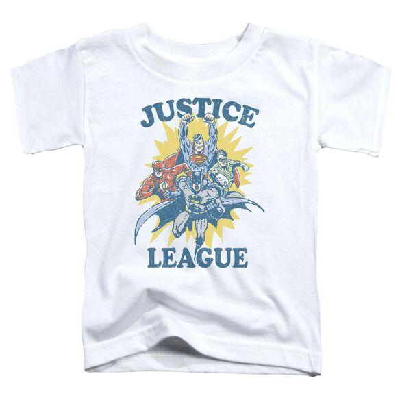 Jla Let's Do This Short Sleeve Toddler Tee White T-Shirt