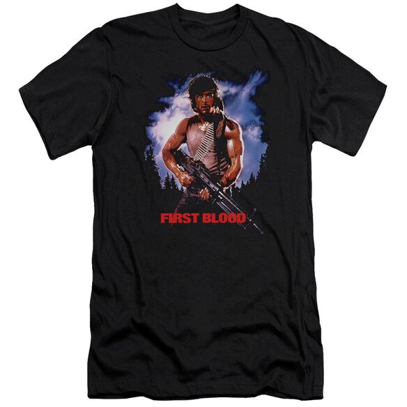 Rambo:First Blood Poster Premuim Canvas Adult Slim Fit