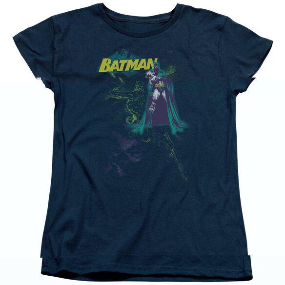 BATMAN BAT SPRAY - S/S WOMENS TEE - NAVY T-Shirt