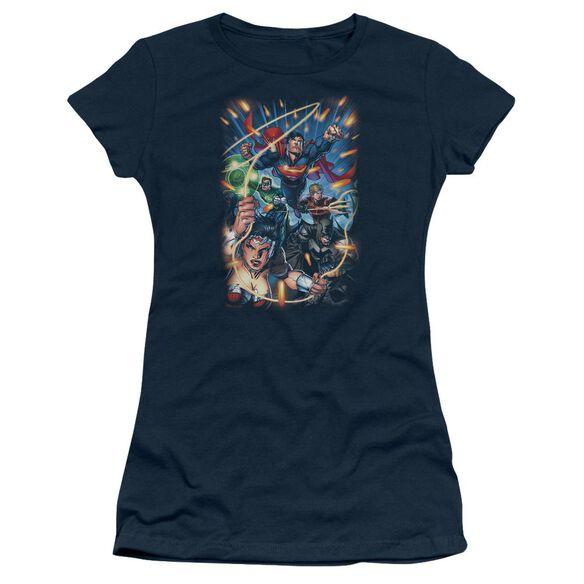 Jla Under Attack Short Sleeve Junior Sheer T-Shirt