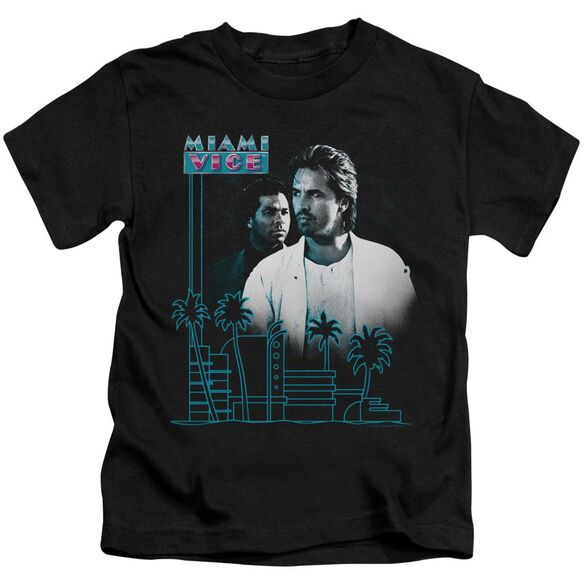 Miami Vice Looking Out Short Sleeve Juvenile Black Md T-Shirt