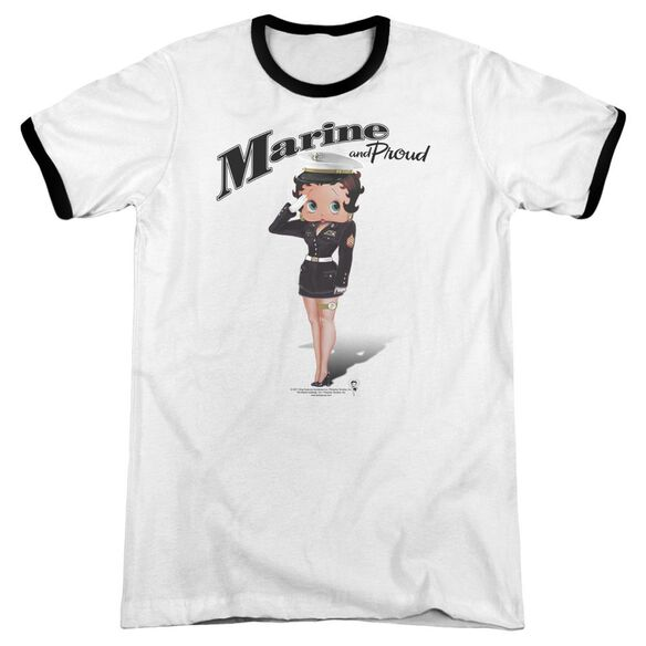 Betty Boop Marine Boop Adult Ringer White Black