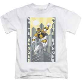 Power Rangers White Ranger Deco Short Sleeve Juvenile White T-Shirt