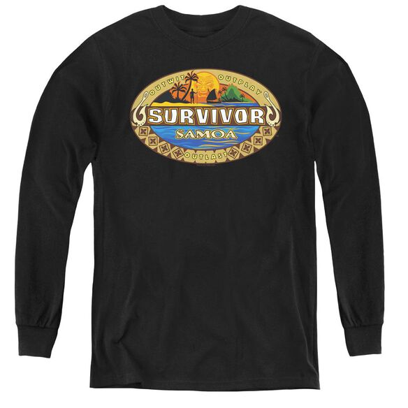 Survivor Samoa Logo - Youth Long Sleeve Tee - Black
