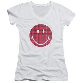 Smiley World Plaid Face Junior V Neck T-Shirt